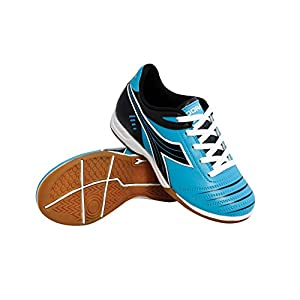 Diadora Kids' Cattura ID Jr Indoor Soccer Shoes (12 Little Kid M, Columbia Blue/Black)