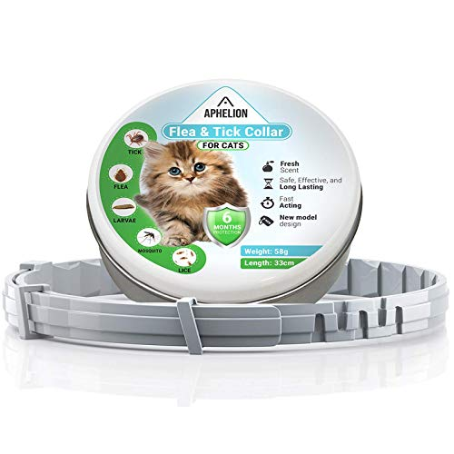 Flea and Tick Prevention Control: Adjustable Hypoallergenic Collar for Cats | 6 Month Continuous Protection for Kittens and Adult Cats | Waterproof and Durable Material | 100% Natural Safe Treatment by Aphelion