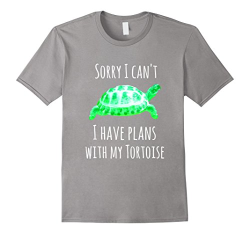 Mens Tortoise Shirt - Sorry I Can't I Have Plans With My Tortoise Large Slate Tortoise Slate