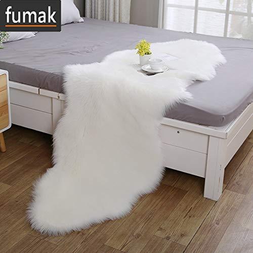 fumak シープスキン 椅子カバー 人工ウール ソフト ホーム カーペット シープスキン 椅子カバー ラグ プレーン ふわふわ ラグ 寝室 ブランケット マット 子供 リビングルーム テーペット 54cmx180cm ホワイト 54cmx180cm ホワイト B07QFNYNN1