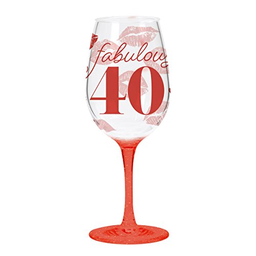 Speckled Red Wine - C.R. Gibson QWGO-20894 Fabulous 40' 40th Birthday Acrylic Wine Glass, 12 oz, 40
