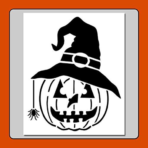 10 X 12 Pumpkin w Witch Hat/Spider Stencil Template Jack o -