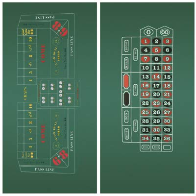 Craps & Roulette 2-Sided Casino Felt Layout Da Vinci Set Mattress