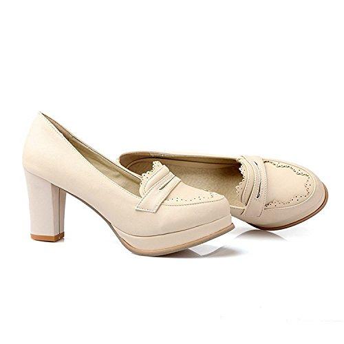 Pu Naisten Suljetun Pumput Kierroksella Pumput Solid kengät Korkokengät Velardeeee Vedä Beige Toe AH06nqn