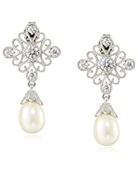 Platinum Plated Sterling Silver Cubic Zirconia Freshwater Cultured Pearl Antique Drop Earrings