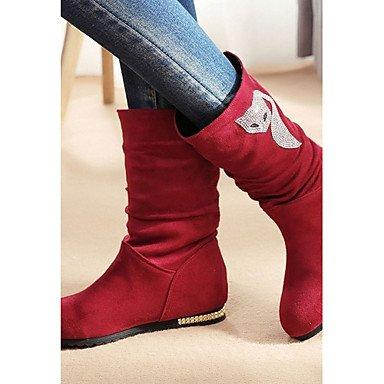 Casual Botines Pedrería de Tobillo Invierno Cuña Semicuero Otoño Para amp;M Dedo Hasta Negro Tacón Moda el Zapatos Heart Botas Botas red Mujer redondo TqxURT06