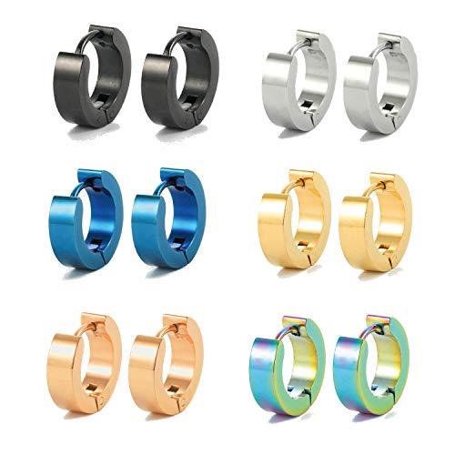 Ogemluv Stainless Steel Small Hoop Earrings for Men Women Huggie Earrings 6PCS