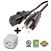 Huetron 1.5ft Short-Run Power Cord for Epson VS200 VS210 VS310 Projector + 3 Way Cube Tap