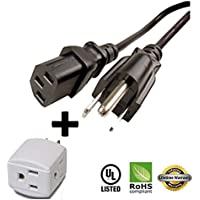 Huetron 5ft Power Cord for Epson MovieMate 25 50 60 62 85HD LCD Projector + 3 Way Cube Tap