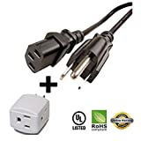 Huetron 12ft Power Cord for Epson PowerLite Home Cinema 8700UB 9700UB Projector + 3 Way Cube Tap