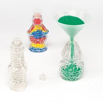 Botellas en Forma de Castillos Que los Niños Pueden Decorar con Arena de Colores y exhibir