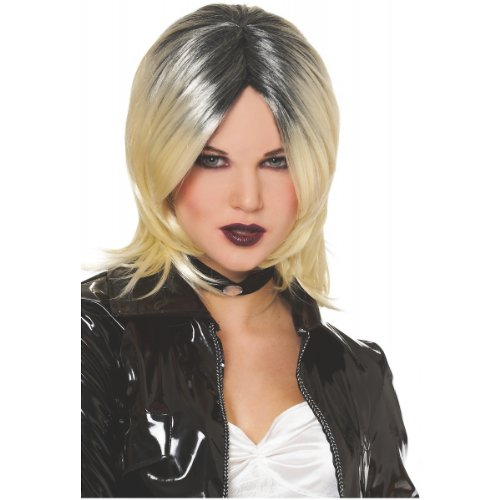 Evil Bride Wig (Blonde w/ Black) Adult Accessory -