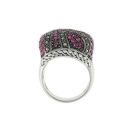 - Aura 925 Sterling Silver Ring Rose Crystal, Marcasite #7