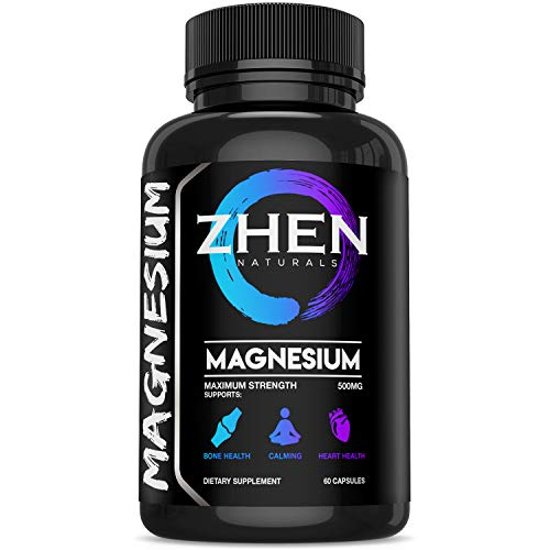 Zhen Naturals Premium 500mg Magnesium Citrate/Oxide Supplement Supports Bone Health, Relaxation, Heart Health & Muscle Recovery -60 Vegetable Capsules