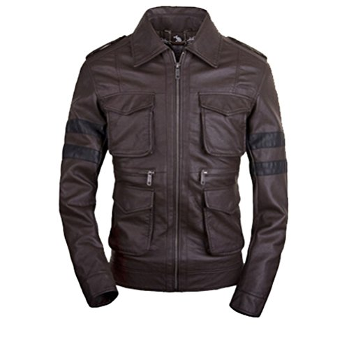 [Koveinc Resident Evil 6 Game Leather Jacket - Brown PU Leather-Male-XXX-Large] (Leon Kennedy Costumes)