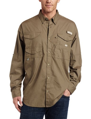 Columbia Men's Bonehead Long Sleeve Shirt, Sage, Medium (Cotton Poplin Field Shirt)