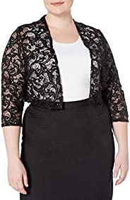 R&M Richards Womens 1 Piece Plus Size Laced Shrug with Glitter Casual Night Out D
