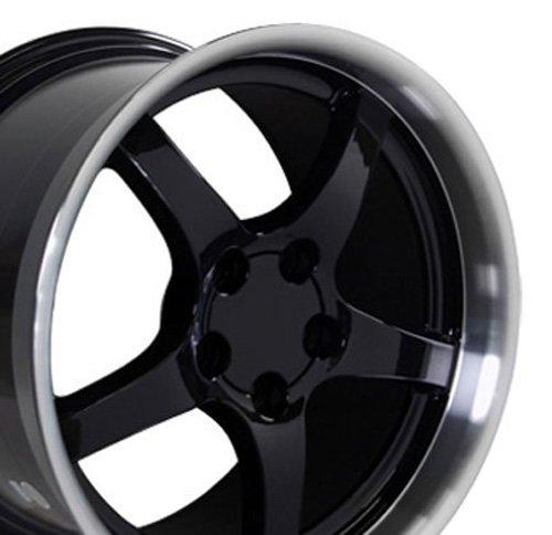 OE Wheels 18 Inch Fits Chevy Camaro Corvette Pontiac Firebird C5 Deep Dish Style CV05 Black with Machined Lip 18x10.5 Rim Hollander 5122