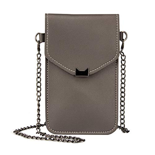 Cell Phone Purse, Techcircle Touch Window Crossbody Chain Bag Mini Shoulder Bag with Detachable Strap Girls Trendy Wallet for iPhone Xr 8 Plus, Google Pixel 3 XL, LG G7 ThinQ, Honor V20, Dark Gray ()
