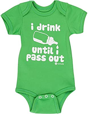 Fayfaire Outfit: Boutique Quality Funny I Drink Until I Pass Out Green NB-12M