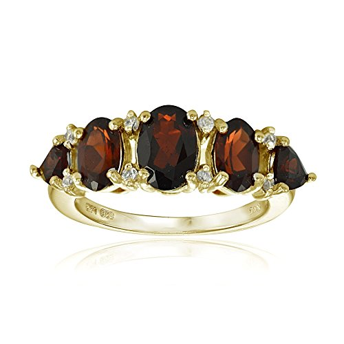 Yellow Gold Flashed Sterling Silver Garnet and White Topaz 5-Stone Half Eternity Band Ring, Size 10 ()