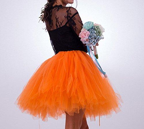 Pettiskirt Ballet au Tulle couche Orange en Tutu Princesse Multi Haute Jupe Genou Vintage Taille Femme AqwYvv