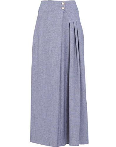 Cut Cotton Skirt Bias (EDZ Women's Julie Pleated Long A-Line Modest Muslim Maxi Skirt Extra Large Armor Grey)