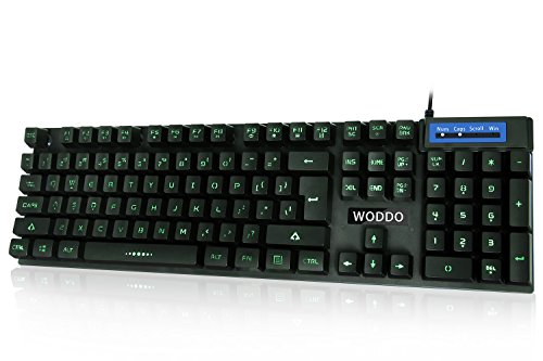 Woddo Wired Led Computer Keyboards Water Resistant Slim Gaming keyboard  with 104 Backlit Anti-Ghosting Keys