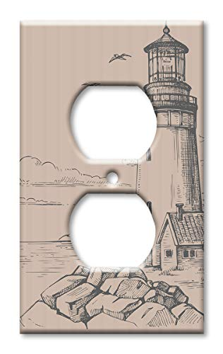 Art Plates Brand Electrical Outlet Cover Wall/Switch Plate - Lighthouse Drawing ()