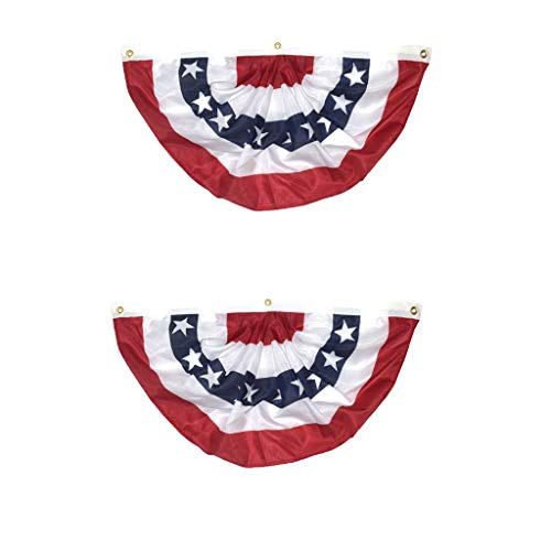 UMFun 2PC American Pleated Fan Flag USA American Bunting Decoration Logo Print Patriotic Stars and Stripes with Canvas -