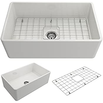 Classico Farmhouse Apron Front Fireclay 30 in. Single Bowl Kitchen Sink with Protective Bottom Grid and Strainer in White