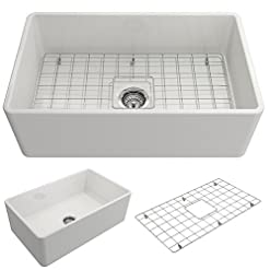 Farmhouse Kitchen BOCCHI 1138-001-0120 Classico Apron Front Fireclay 30 in. Single Bowl Kitchen Sink with Protective Bottom Grid and… farmhouse kitchen sinks