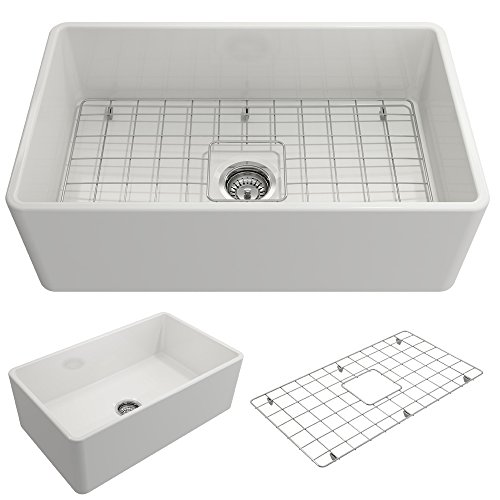 BOCCHI 1138-001-0120 Classico Apron Front Fireclay 30 in. Single Bowl Kitchen Sink with Protective Bottom Grid and Strainer in White,