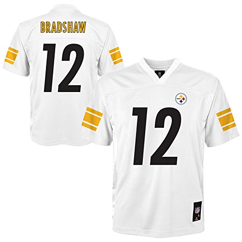 NFL by Outerstuff NFL Pittsburgh Steelers Terry Bradshaw Youth Boys White Player Jersey, X-Large/(18), White