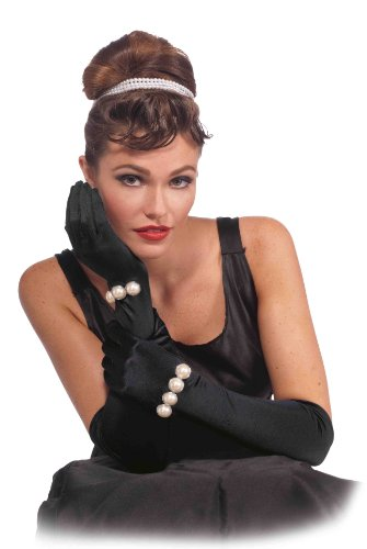 [Forum Novelties Vintage Hollywood Long Gloves with Pearls, Black, One Size] (Hollywood Fancy Dress)
