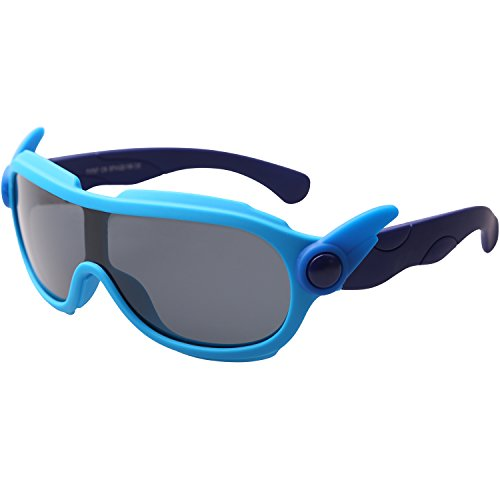 SojoS Kids Rubber Flexible Wing Decoration Polarized Shield Sunglasses SK212 With Blue Frame/Grey - Wings Sunglasses