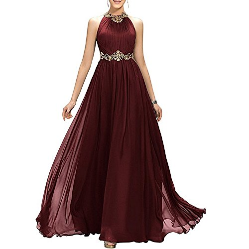 Chiffon Beaded Long Gown - 7