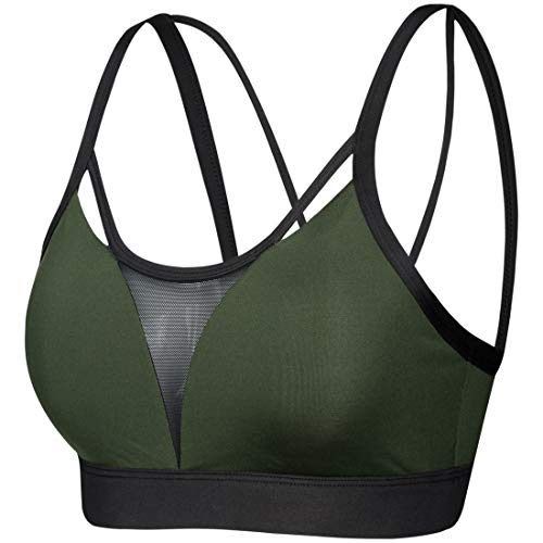 Yvette Sports Workout Yoga Bra High Impact Support Full Figure Strappy Workout Bra for Running Danceing Body Measuring Tape, Green, 2XL(DF)