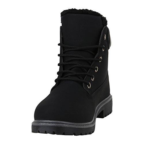 Stiefelparadies Damen Schuhe Stiefeletten Warm Gefütterte Worker Boots Outdoor Flandell Schwarz Schwarz Autol