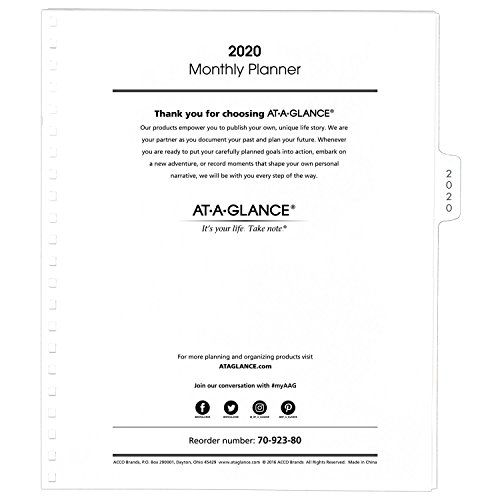 at-A-Glance 2020 Monthly Planner Refill, January 2020 - December 2020, 9
