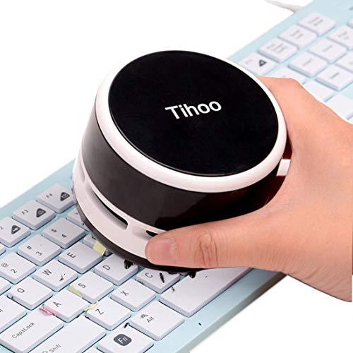 Keyboard Vacuum Cleaner Office Desktop Eraser Dinner Table Dust Sweeper Mini Handheld Cordless Table Crumb Collector Black
