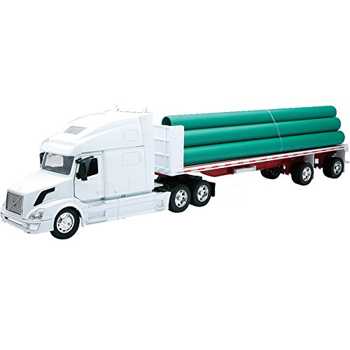 VOLVO VN-780 FLATBED W/ LONG PIPE Truck New Ray by NewRay (Flat Bed Truck Models)