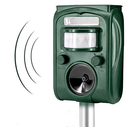Solar Ultrasonic Animal Repeller, Xboun Outdoor Waterproof Pest Repeller, Motion Sensor Repel Animal Pests, Cats and Dogs, Squirrels, Raccoons, Foxes, Mouse, Skunks, Rabbit for Garden Yard (Green) by Xboun