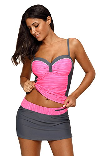 REKITA Womens Swimsuit Halter Tankini Top and Skort Bottom Set Bathing Suits, Rosy Grey, XXX-Large (Best Bathing Suit Tops For Large Breasts)