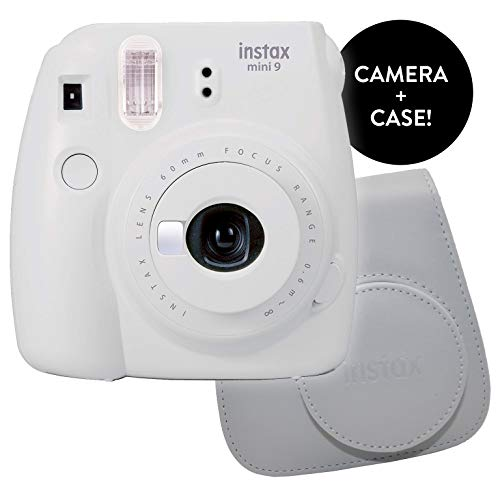 Fujifilm Instax Mini 9 Instant Camera – Certified Refurbished with New Instax Mini 9 Groovy Camera Case | Matching Colors for Case and Mini 9 Camera + Certified Amazing Cleaning Cloth (Smokey White)