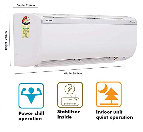 Daikin 1.5 Ton 3 Star Inverter Split AC (DTKL/RKL-50TV16V, White) 2021 July Daikin Split Acfeatures- Econo Mode, Coanda Airflow, Power Chill Operation, PM 2.5 Filter, Daikin Ac Standard Intollation Chargeable Air Conditioner Copper Condenser Coil: Better Cooling And Requires Low Maintenance. Refrigerant Gas: R32 - No Ozone Depletion Potential,Copper Condenser Coil: Better Cooling And Requires Low Maintenance Split AC with Inverter Compressor: Variable Speed Compressor Which Adjusts Power Depending On Heat Load. It Is Most Energy Efficient And Has Lowest-Noise Operation, Non Inverter Ac 1.5 Ton Capacity: 1.5 Ton. Suitable For Medium Sized Rooms (111 To 150 Sq ft)