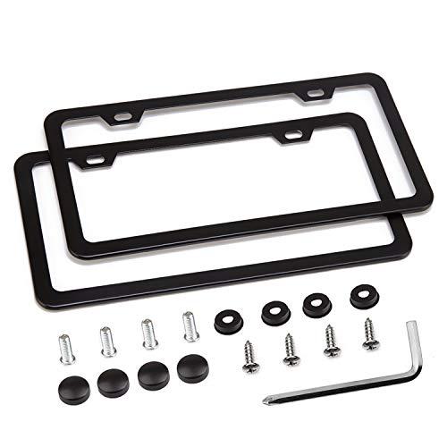 - Simchoco License Plate Frame, Black License Plate Frame 2 Pcs 2 Holes Slim Border Matte Aluminum Frame with Chrome Screw Caps for US Vehicles