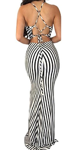 Stripe Print Women's Casual Beach Maxi Jaycargogo 1 Party Sleeveless Dress gpqEwgx