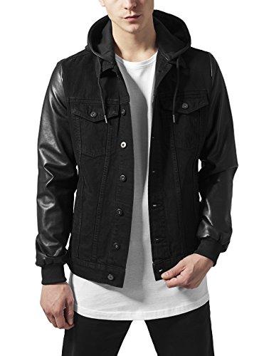 Denim Blk para Urban Jacket Imitation Hooded Hombre Chaqueta Leather Blk Classics Negro xEOgvZ