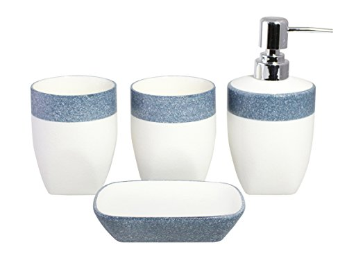 Elegant Minimalist 4pcs Two-Tone Ceramic Bathroom Accessory Set - White with Speckle (Ceramic Bathroom Accessories Sets)